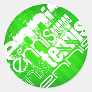 Tennis; Neon Green Stripes. Classic Round Sticker