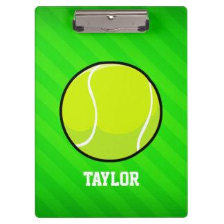 Tennis; Neon Green Stripes Clipboard