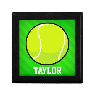 Tennis; Neon Green Stripes Trinket Box