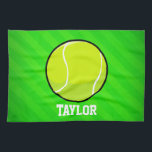 "Tennis; Neon Green Stripes Hand Towel<br><div class=""desc"">Cool, colorful kid&#39;s tennis ball, tennis coach, player, yellow green ball, sports design on bright neon lime green stripes pattern. Perfect gift for baby, toddler, kids, children, teens, or adults! Personalized the design by adding a child&#39;s name or custom text with athletic, sporty look sports white font. Visit our store,...</div>"