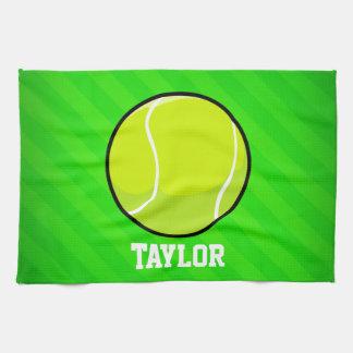 Tennis; Neon Green Stripes Hand Towel