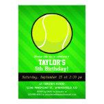 Tennis; Neon Green Stripes 5x7 Paper Invitation Card