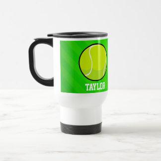Tennis; Neon Green Stripes Stainless Steel Travel Mug