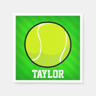 Tennis; Neon Green Stripes Paper Napkin