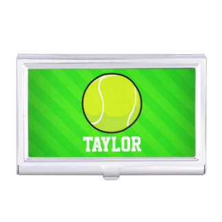 Tennis; Neon Green Stripes Case For Business Cards