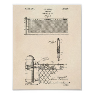 Tennis Net 1934 Patent Art Old Peper Poster