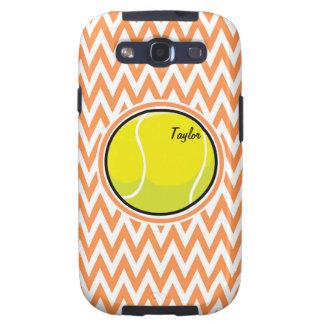 Tennis; Orange and White Chevron Samsung Galaxy SIII Case