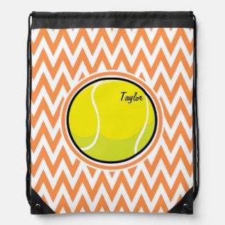 Tennis; Orange and White Chevron Drawstring Bag