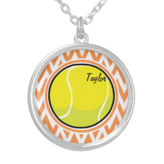 Tennis; Orange and White Chevron Jewelry