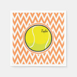 Tennis; Orange and White Chevron Paper Napkin