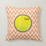 Tennis; Orange and White Chevron Pillow