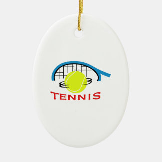 TENNIS Double-Sided OVAL CERAMIC CHRISTMAS ORNAMENT