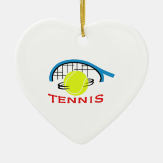 TENNIS Double-Sided HEART CERAMIC CHRISTMAS ORNAMENT