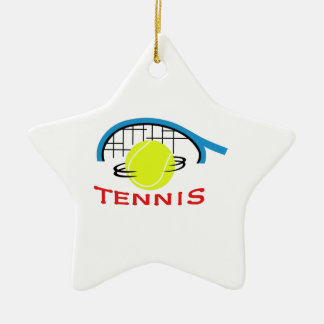 TENNIS Double-Sided STAR CERAMIC CHRISTMAS ORNAMENT