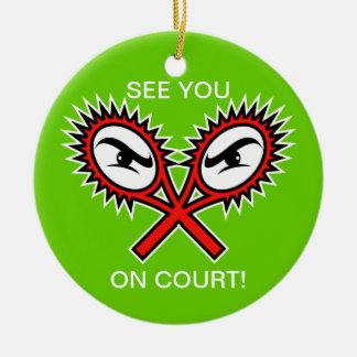 Tennis ornaments for Christmas with funny text