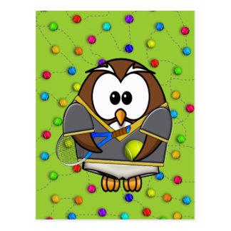 tennis-owl boy postcard