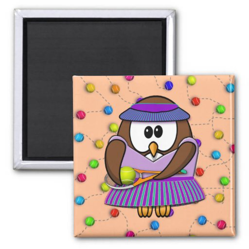 tennis-owl girl 2 inch square magnet