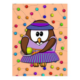 tennis-owl girl postcard