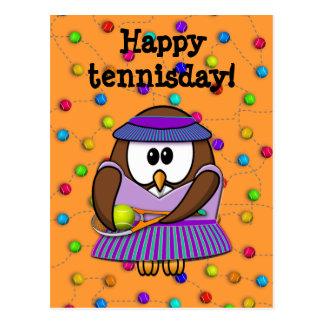 tennis owl - girl postcard