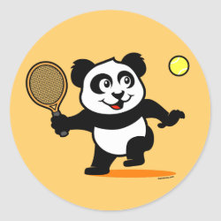 Round Sticker with Cute Tennis Panda design