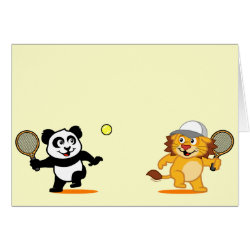 Greeting Card with Cute Tennis Lion Vs Panda design