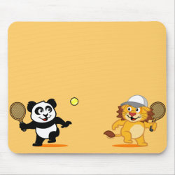Mousepad with Cute Tennis Lion Vs Panda design