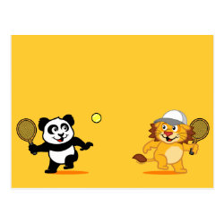 Postcard with Cute Tennis Lion Vs Panda design
