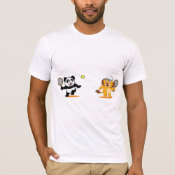 Men's Basic American Apparel T-Shirt with Cute Tennis Lion Vs Panda design