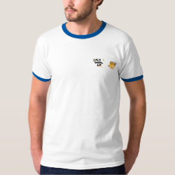 Men's Basic Ringer T-Shirt with Cute Tennis Lion Vs Panda design