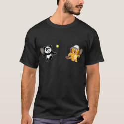 Men's Basic Dark T-Shirt with Cute Tennis Lion Vs Panda design