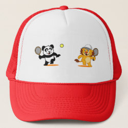 Trucker Hat with Cute Tennis Lion Vs Panda design