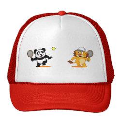 Trucker Hat with Cute Tennis Lion Vs Panda design