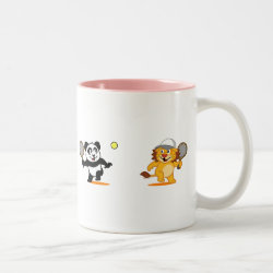 Two-Tone Mug with Cute Tennis Lion Vs Panda design