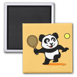 Square Magnet with Cute Tennis Panda design