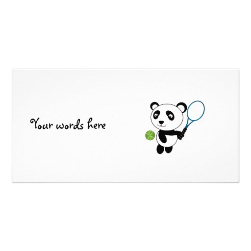 Tennis Panda Personalized Photo Card