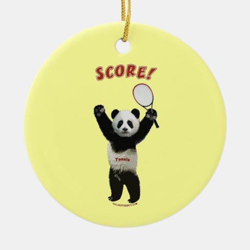 Tennis Panda Score Double-Sided Ceramic Round Christmas Ornament