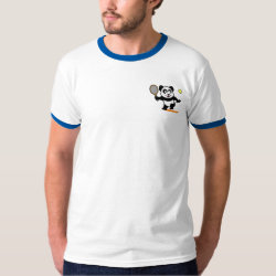 Men's Basic Ringer T-Shirt with Cute Tennis Panda design