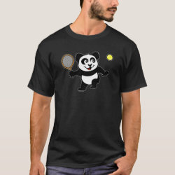 Men's Basic Dark T-Shirt with Cute Tennis Panda design
