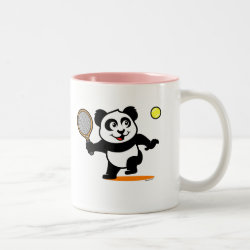 Two-Tone Mug with Cute Tennis Panda design