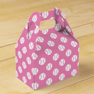 Tennis party favor box in pink or custom color