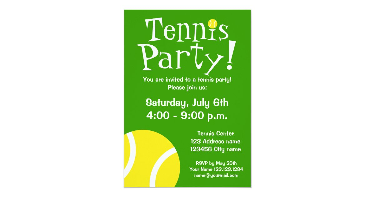 Tennis party invitations for Birthdays or BBQ | Zazzle.com