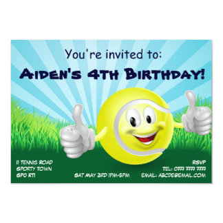 Tennis party kids birthday invite
