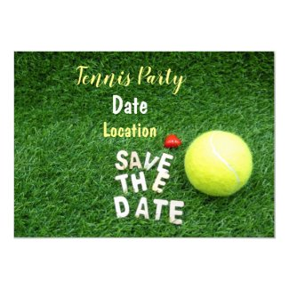 Tennis Party save the date with tennis ball Invitation