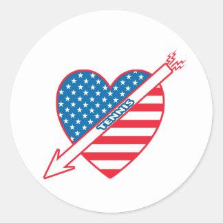 Tennis Patriot Heart Classic Round Sticker