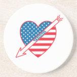 Tennis Patriot Heart Coasters