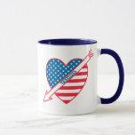 Tennis Patriot Heart Mug