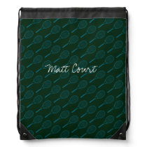 tennis pattern-design personalized drawstring backpack