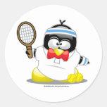 Tennis Penguin Classic Round Sticker