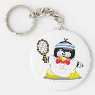 Tennis Penguin Basic Round Button Keychain