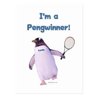 Tennis Penguin Postcard